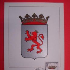 Sellos: TARJETA MAXIMA, SERIE ESCUDOS - LEON - MATASELLOS PRIMER DIA - MADRID 9.MAR.64.. R-4296. Lote 71908511