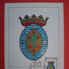 Sellos: TARJETA MAXIMA, SERIE ESCUDOS-SANTA CRUZ DE TENERIFE- MATASELLOS PRIMER DIA- MADRID 8.NOV.65. R-4309. Lote 71910435