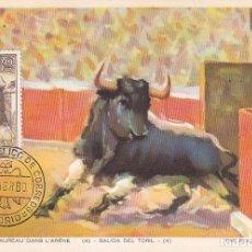Sellos: TOROS FIESTA NACIONAL TAUROMAQUIA 1960 (EDIFIL 1257) TARJETA MAXIMA SERVICIO FILATELICO DE CORREOS.. Lote 95999847