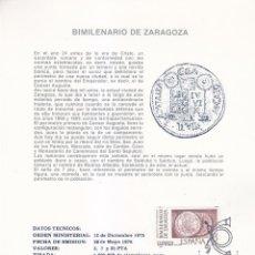 Sellos: ARQUEOLOGIA BIMILENARIO DE ZARAGOZA 1976 (EDIFIL 2319/21) EN DOS TM PRIMER DIA DE ARTEFIL. RARAS MPM. Lote 29168217