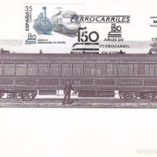 Sellos: TRENES 150 AÑOS DEL FERROCARRIL EN ESPAÑA 1998 (EDIFIL 3591) EN TARJETA MAXIMA PRIMER DIA.. Lote 97473219