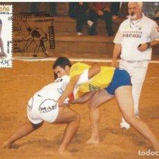 Sellos: 2008 TARJETA MÁXIMA DEPORTES TRADICIONALES LUCHA CANARIA. Lote 100364959