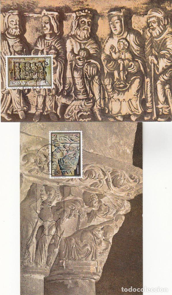 ADORACION DE LOS REYES MAGOS Y NACIMIENTO NAVIDAD 1973 (EDIFIL 2162/63) DOS TM PRIMER DIA BARCELONA. (Sellos - España - Otros - Tarjetas Máximas )
