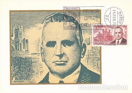 EDIFIL 2242, ANTONIO PALACIOS (ARQUITECTO), TARJETA MAXIMA DE PRIMER DIA DE 25-2-1975 (Sellos - España - Otros - Tarjetas Máximas )