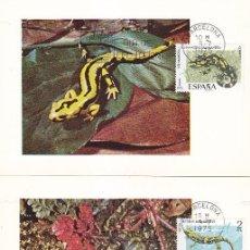 Sellos: FAUNA HISPANICA 1975 (EDIFIL 2272/76) EN CINCO TARJETAS MAXIMAS PRIMER DIA MATASELLOS BARCELONA.. Lote 113053111