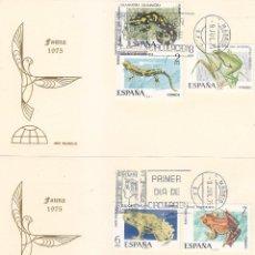 Sellos: FAUNA HISPANICA 1975 (EDIFIL 2272/76) EN DOS TARJETAS MAXIMAS PRIMER DIA DE IRIS MUNDUS. . Lote 113053283