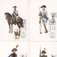 Sellos: UNIFORMES MILITARES V GRUPO 1975 (EDIFIL 2277/81) EN CINCO TARJETAS MAXIMAS PRIMER DIA MADRID.. Lote 113280615