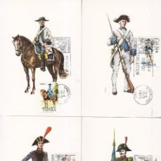 Sellos: UNIFORMES MILITARES V GRUPO 1975 (EDIFIL 2277/81) EN CINCO TARJETAS MAXIMAS PRIMER DIA BARCELONA.. Lote 113280707