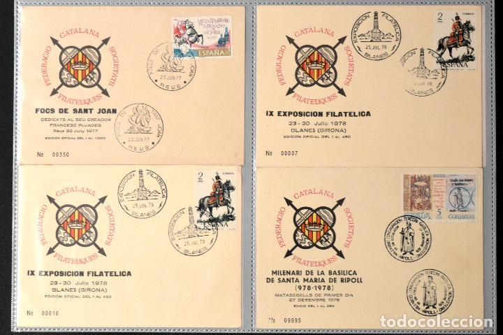 Sellos: LOTE 50 TARJETA MATASELLOS ESPECIAL Y PRIMER DIA FEDERACIO CATALANA SOCIETATS FILATELIQUES CATALUÑA - Foto 2 - 113738515