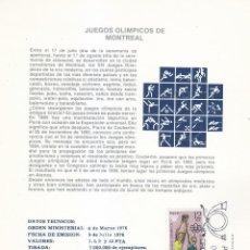 Sellos: XXI JUEGOS OLIMPICOS EN MONTREAL 1976 (EDIFIL 2340/43) EN DOS TM PRIMER DIA ARTEFIL. RARAS ASI. MPM.. Lote 115286103