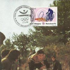 Sellos: TARJETA MÁXIMA DE CICLISMO -OLIMPIADAS BARCELONA 92. Lote 118501039