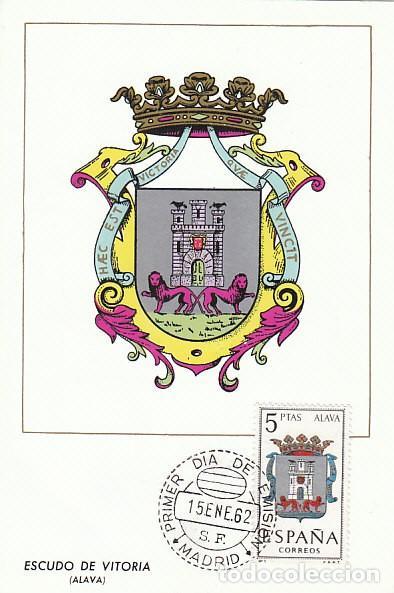 EDIFIL 1406, ESCUDO DE ALAVA, TARJETA MAXIMA PRIMER DIA DEL AÑO 1962 (Sellos - España - Tarjetas Máximas )