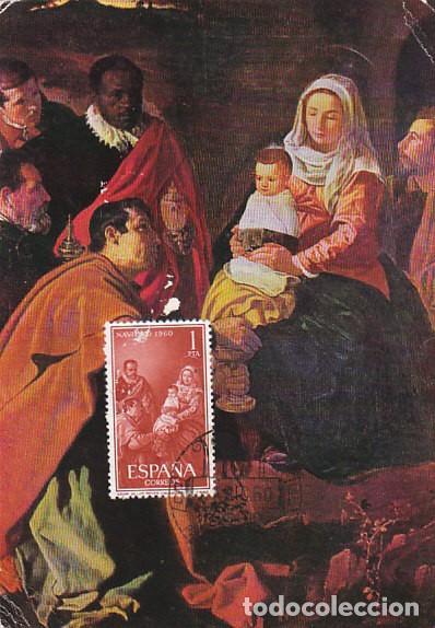 EDIFIL 1325, NAVIDAD, VELAZQUEZ: ADORACIÓN DE LOS REYES MAGO, TARJETA MÁXIMA PRIMER DIA DE 1-12-1960 (Sellos - España - Tarjetas Máximas )