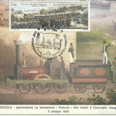Sellos: TARJETA MÁXIMA DEL 150 ANIV. DE LA LINEA FERROVIARIA NAPOLES-PORTICI- ITALIA . Lote 125920571