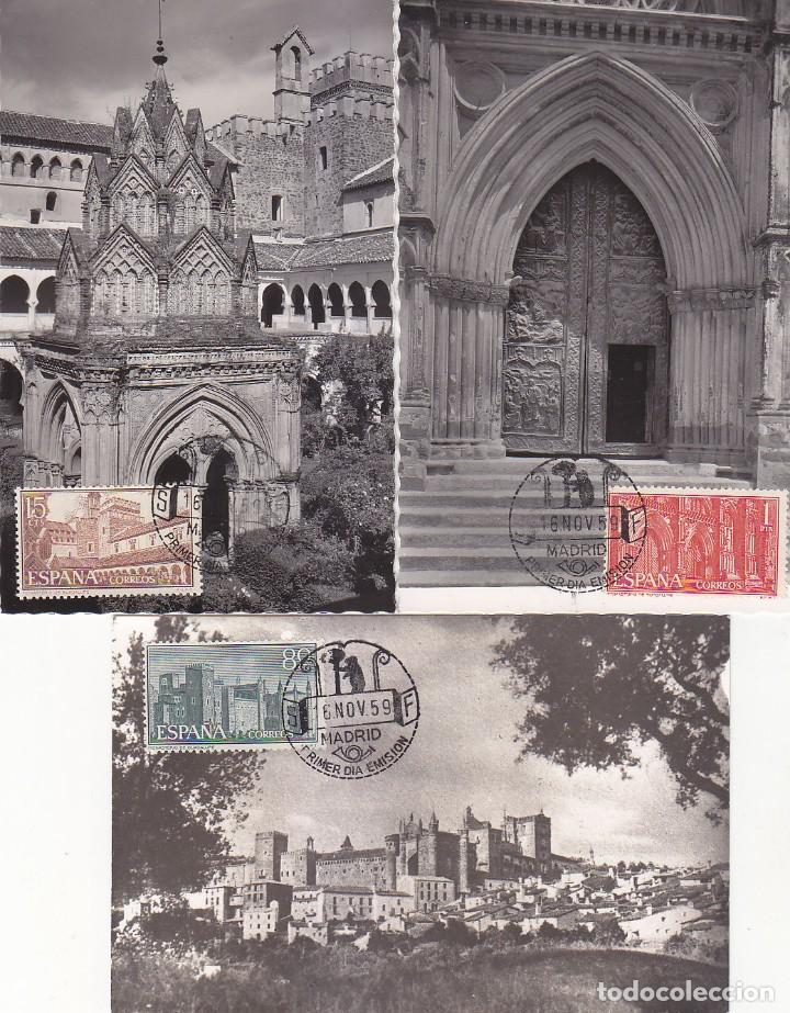 RELIGION MONASTERIO DE NUESTRA SEÑORA DE GUADALUPE 1959 (EDIFIL 1250/52) EN TRES TM PRIMER DIA RARAS (Sellos - España - Tarjetas Máximas )
