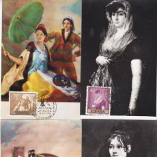 Sellos: PINTURA FRANCISCO DE GOYA 1958 (EDIFIL 1210/19) SERIE COMPLETA EN DIEZ TARJETAS MAXIMAS. MUY RARAS.. Lote 135114022