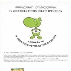 Sellos: PRINCIPAT D´ANDORRA 1991 - IV JOCS DELS PETITS ESTATS D´EUROPA . Lote 136105682