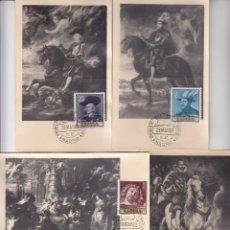 Sellos: PINTURA PEDRO PABLO RUBENS 1962 (EDIFIL 1434/37) EN CUATRO TARJETAS MAXIMAS PRIMER DIA.. Lote 136452378