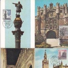 Sellos: TURISMO SERIE TURISTICA 1965 (EDIFIL 1643/52) EN DIEZ TARJETAS MAXIMAS PRIMER DIA MATASELLOS LOCALES. Lote 142508798