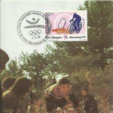 Sellos: TARJETA MÁXIMA ESPAÑA, CICLISMO , OLIMPIADAS DE BARCELONA 1992 EDIFIL 2996 - DEPORTES , OLIMPIADAS. Lote 143256718