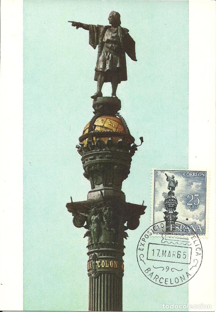 TARJETA MÁXIMA , ESPAÑA , MONUMENTO A COLÓN EN BARCELONA EDIFIL 1643 (Sellos - España - Tarjetas Máximas )