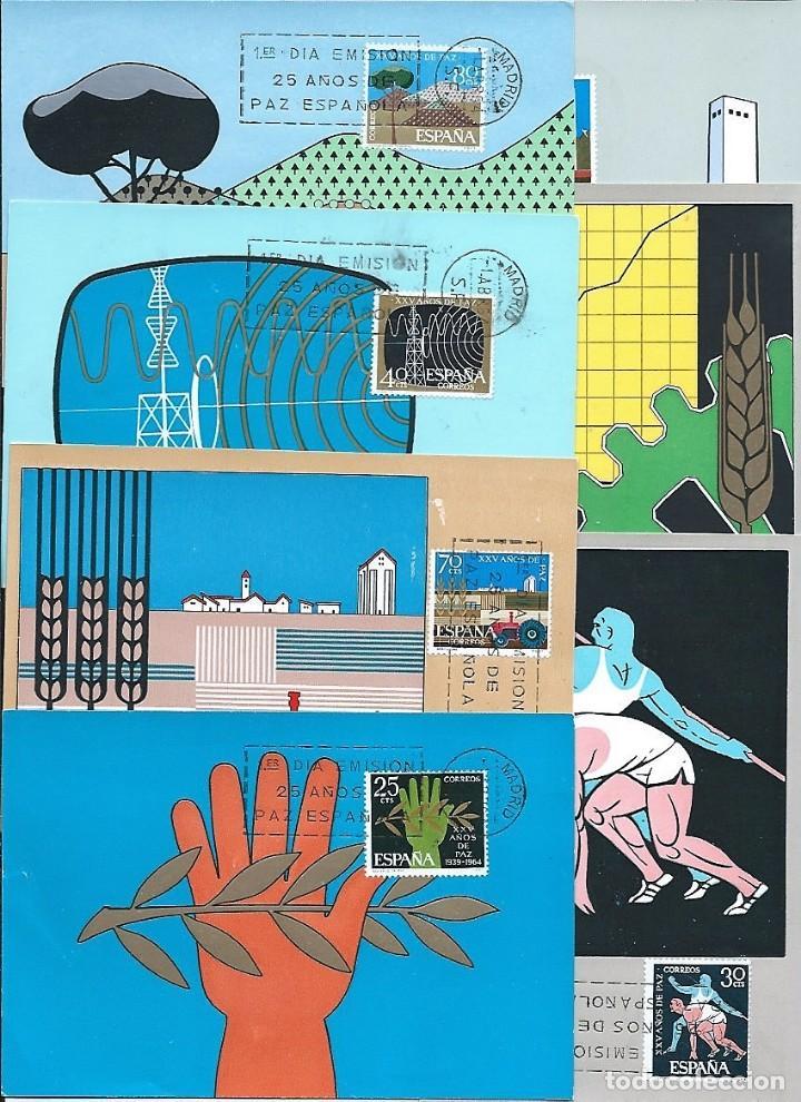 Sellos: España,1964,XXV años de Paz,tarjetas máximas,Edifil 1576-1578, 1580-1589 - Foto 2 - 148505134