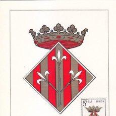 Sellos: ESCUDO DE LERIDA 1964 MATASELLOS MADRID (EDIFIL 1554) EN TARJETA MAXIMA PRIMER DIA.. Lote 151631638