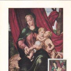 Sellos: RELIGION LA VIRGEN CON JESUS PINTURA LUIS DE MORALES EL DIVINO 1970 (EDIFIL 1965) TM PD BADAJOZ RARA. Lote 156947406