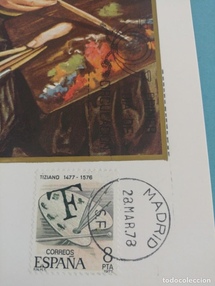 Sellos: Tarjeta con sello Tiziano. Primer día de circulación. Año 78 - Foto 2 - 160463246