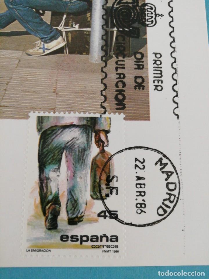 Sellos: Tarjeta con sello, la emigración. Primer día de circulación. Año 86 - Foto 2 - 160596178