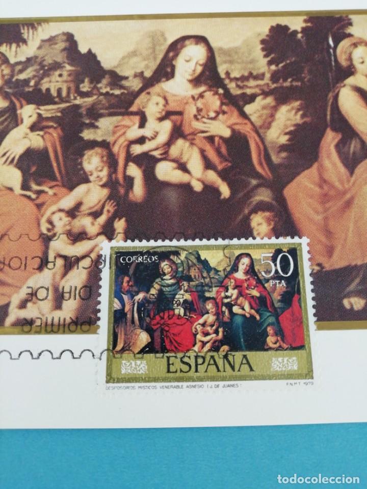 Sellos: Tarjeta con sello, Deposorios místicos del... Juan de Juanes. Primer día de circulación. Año 79 - Foto 2 - 204737010