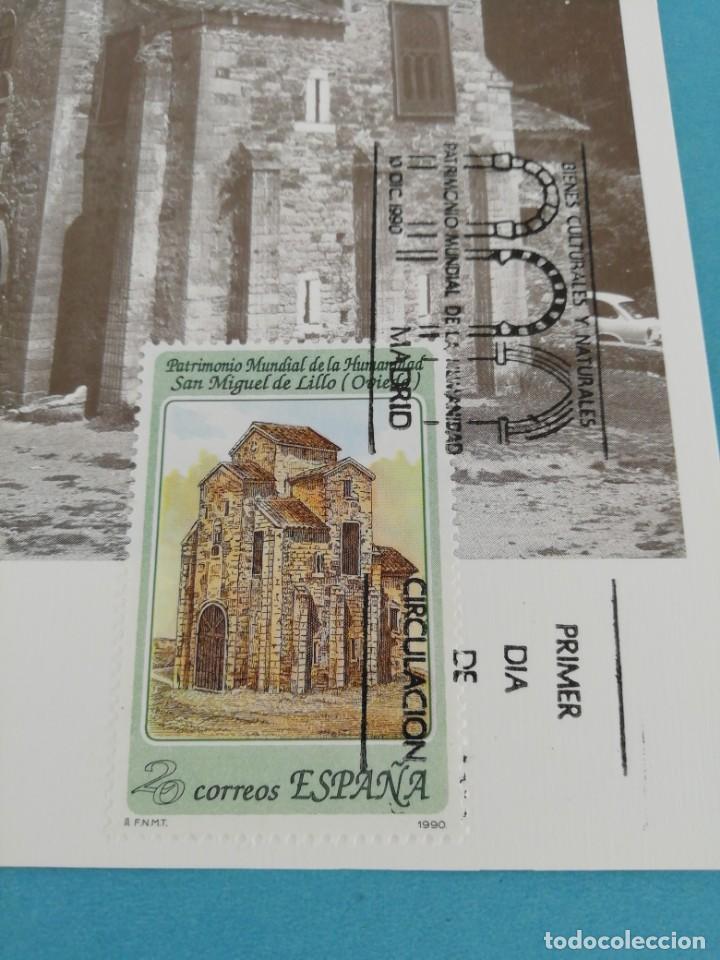 Sellos: Tarjeta con sello, San Miguel de Lillo, Oviedo. Primer día de circulación. Año 78 - Foto 2 - 160685914