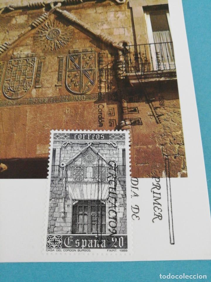 Sellos: Tarjeta con sello, Casa del cordón, Burgos. Primer día de circulación. Año 89 - Foto 2 - 204736730