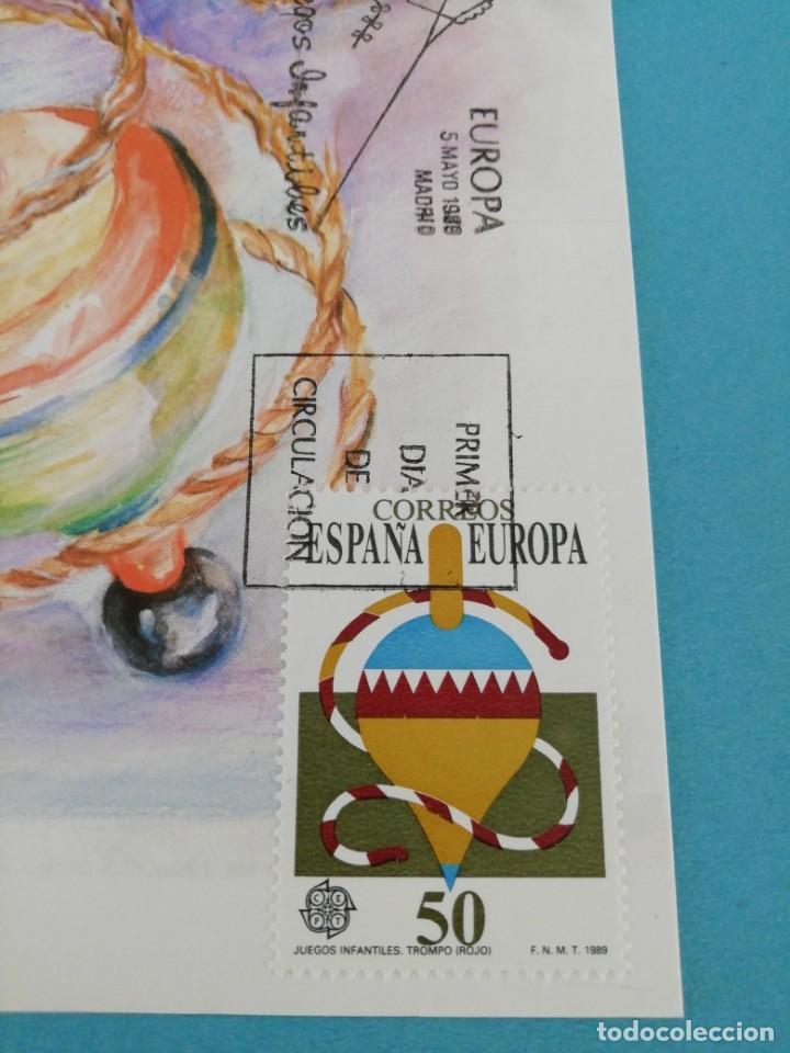 Sellos: Tarjeta con sello, Juegos infantiles (trompo) . Primer día de circulación. Año 89 - Foto 2 - 205079612