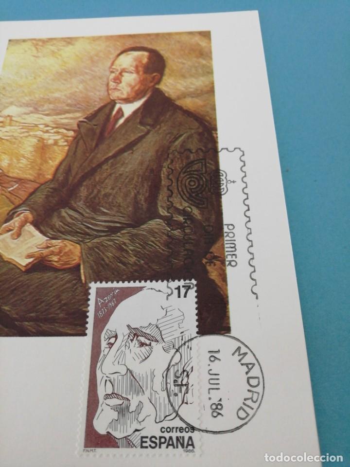 Sellos: Tarjeta con sello, Azorín. Primer día de circulación. Año 86 - Foto 2 - 205079593