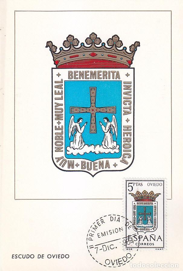 ESCUDO DE OVIEDO 1964 MATASELLOS PROVINCIA (EDIFIL 1562) EN TARJETA MAXIMA PRIMER DIA. (Sellos - España - Tarjetas Máximas )