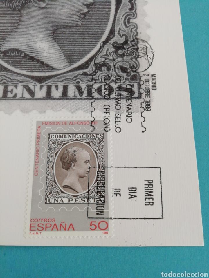 Sellos: Tarjeta con sello, comunicaciones emisión de Alfonso XIII. Primer día de circulación. Año 1989. - Foto 2 - 205079542