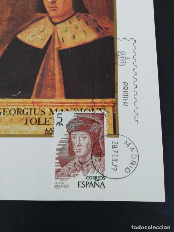 Sellos: Tarjeta con sello. Jorge Manrique. Primer día de circulación. Año 1979 - Foto 2 - 204967481