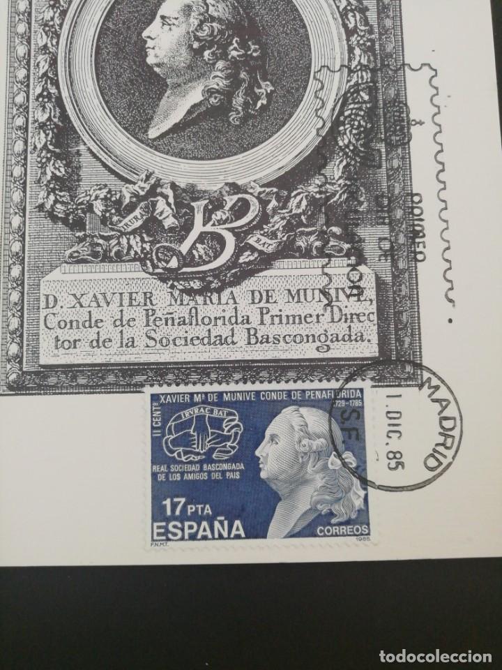 Sellos: Tarjeta con sello, Conde de Peñaflorida. Primer día de circulación. Año 1985. - Foto 2 - 204967396