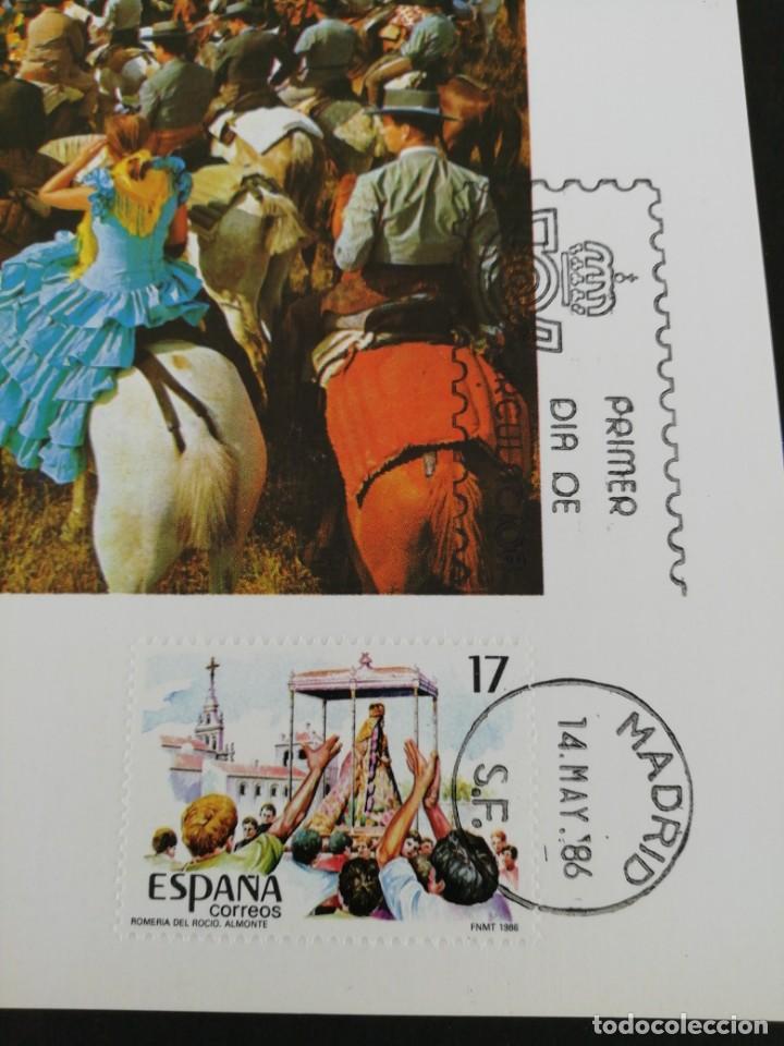 Sellos: Tarjeta con sello, Romería del Rocío, Almonte. Primer día de circulación. Año 1986. - Foto 2 - 204966782