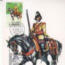 Sellos: ARCABUCERO ECUESTRE 1603 UNIFORMES MILITARES II GRUPO 1974 (EDIFIL 2167) TARJETA MAXIMA PRIMER DIA.. Lote 168169040
