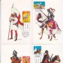 Sellos: UNIFORMES MILITARES I GRUPO 1973 (EDIFIL 2139/43) EN CINCO TARJETAS MAXIMAS PRIMER DIA. RARAS ASI.. Lote 168261888