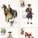 Sellos: UNIFORMES MILITARES III GRUPO 1974 (EDIFIL 2197/2201) EN CINCO TARJETAS MAXIMAS PRIMER DIA BARCELONA. Lote 168263864