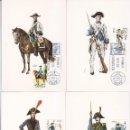 Sellos: UNIFORMES MILITARES V GRUPO 1975 (EDIFIL 2277/81) EN CINCO TARJETAS MAXIMAS PRIMER DIA MADRID.. Lote 168264348