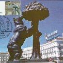 Sellos: TARJETA MAXIMA ESPAÑA CONFECCIONADA CON LA ATM FERIA SELLO MADRID , OSO Y MADROÑO , MADRID. Lote 168312592