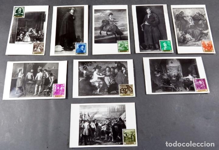 9 POSTALES MÁXIMAS CUADROS VELÁZQUEZ MUSEO PRADO CON SELLO DEL MISMO CUADRO QUE REPRESENTAN (Sellos - España - Tarjetas Máximas )