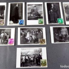 Sellos: 9 POSTALES MÁXIMAS CUADROS VELÁZQUEZ MUSEO PRADO CON SELLO DEL MISMO CUADRO QUE REPRESENTAN. Lote 170824025