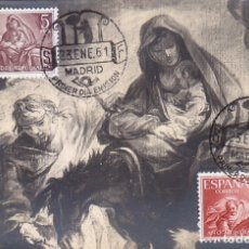 Selos: RELIGION PINTURA BAYEU AÑO MUNDIAL DEL REFUGIADO 1961 (EDIFIL 1326/27) EN TARJETA MAXIMA PRIMER DIA.. Lote 175017519