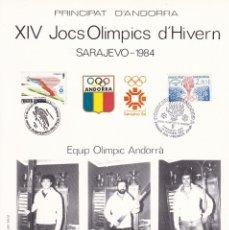 Sellos: PRINCIPAT D'ANDORRA 1984 - PRIMER DIA / XIV JOCS OLÍMPICS D'HIVERN SARAJEVO 1984 - Nº 00046. Lote 181982146