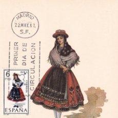 Sellos: TRAJES TIPICOS ESPAÑOLES 1967 TRAJE DE AVILA (EDIFIL 1771) EN TARJETA MAXIMA PRIMER DIA DE MF.. Lote 186016716